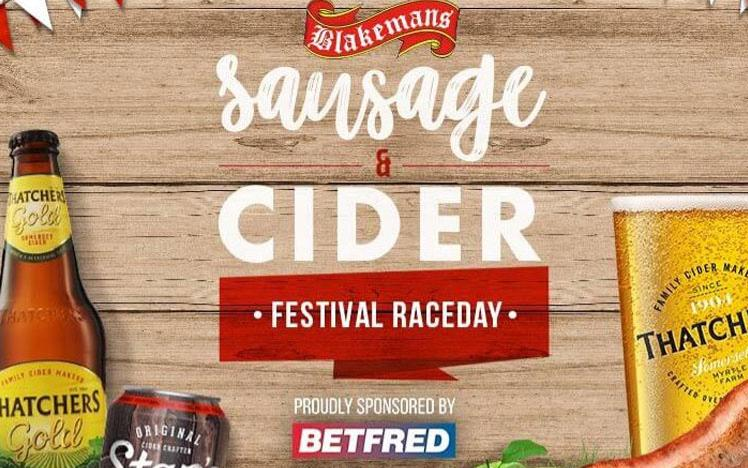 Promotional banner for Sausage & Cider themed raceday at Uttoxeter Racecourse.