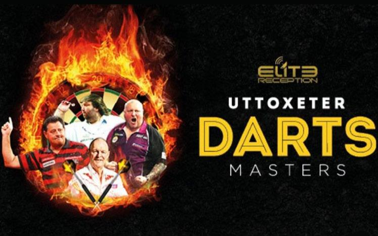 Promotional banner for Darts Masters event at Uttoxeter Racecourse.